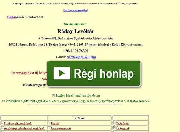 Ráday Levéltár régi honlapja